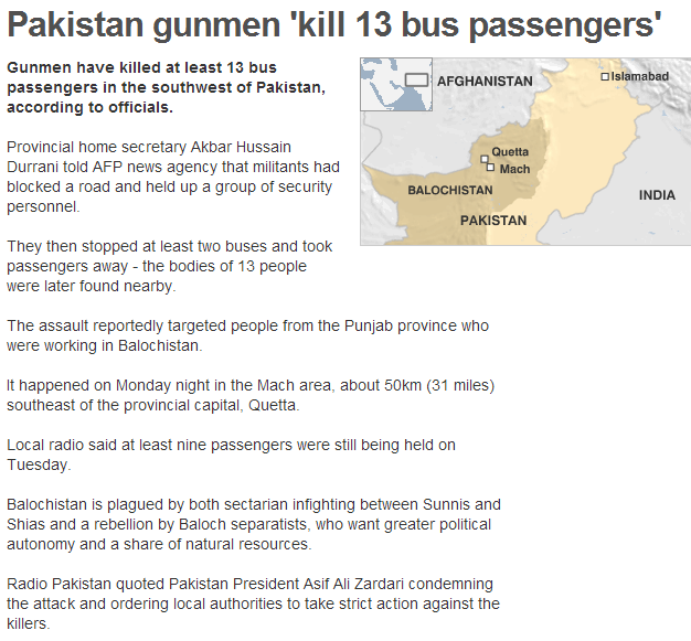 pakistan gunmen kill 13 on bus 6.8.2013