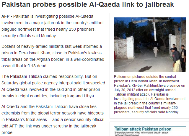 pakistan probes prison break for al-qaida links 6.8.2013