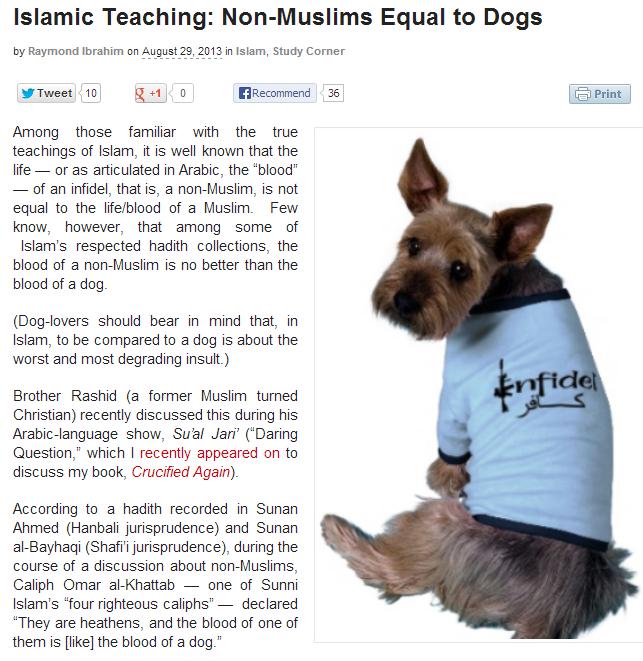 raymond ibrahim islamic teaching likens non-muslims to dogs 30.8.2013