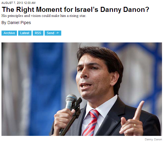 right moment for danny danon 7.8.2013