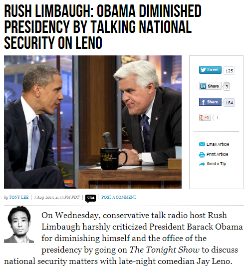 rush obama damaged national security by talking on it on leno show 8.8.2013