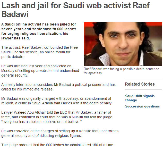saudi journalist gets 600 lashes and prison time for urging moderation of islam 1.8.2013