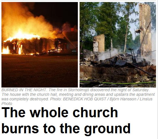 swedish church burns in high denisty muslim area 19.8.2013
