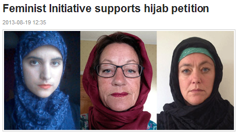 swedish feminists in hijab 21.8.2013