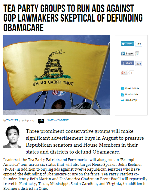 tea party running ads about gop'ers weak kneed about defunding obamacare 20.8.2013