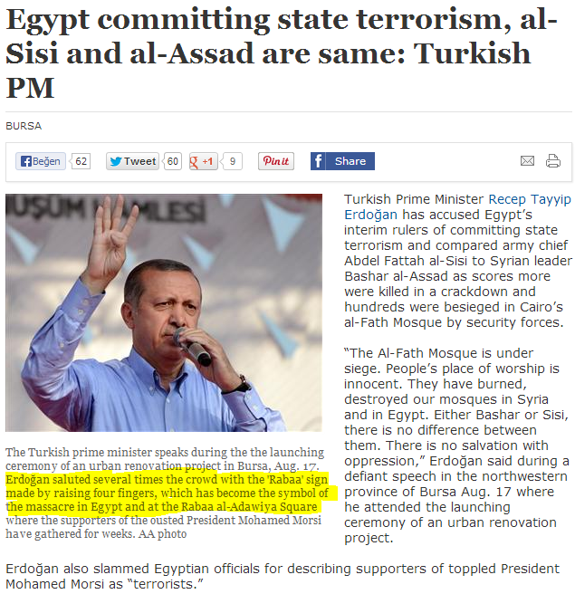 turk pm erdogan waves four while condemning al-sis regime in egypt 25.8.2013