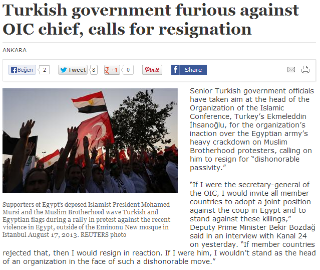 turkey furious over ihsanoglu's lack of ivolvement in egyptian situation 19.8.2013