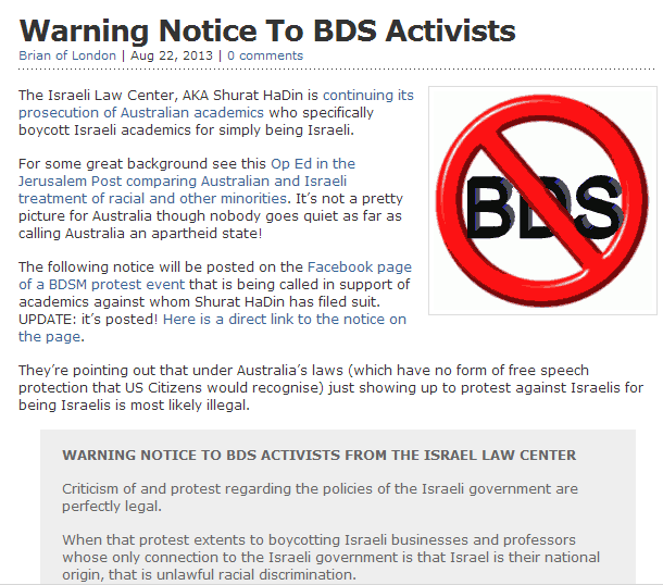 warning to bds activists- prepare to be sued 22.8.2013