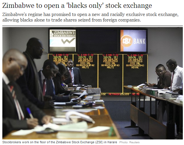 zimbabwe blacks on racist stock exchange 11.8.2013