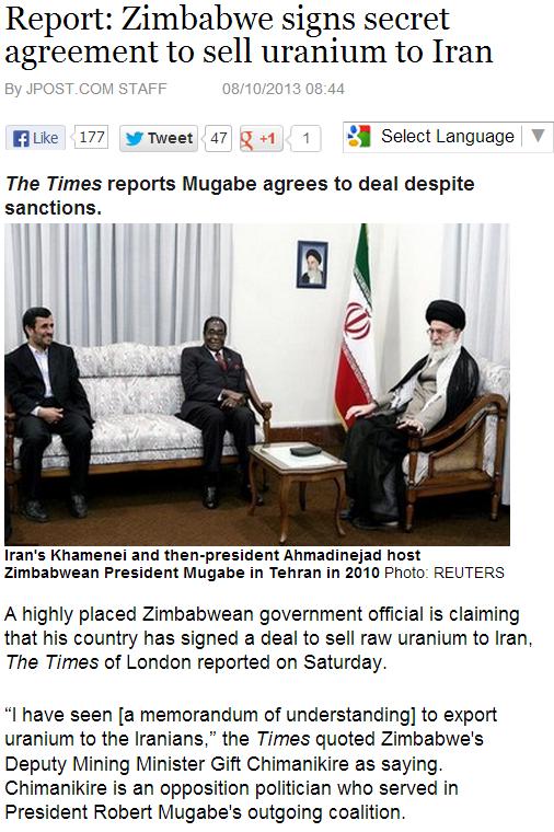 zimbabwe selling uranium to iran 11.8.2013