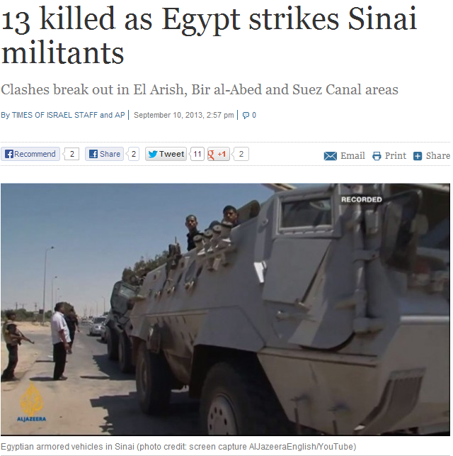 13 jihadis toasted in sinai 11.9.2013