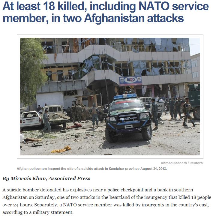 18 killed in afghanistan 1.9.2013