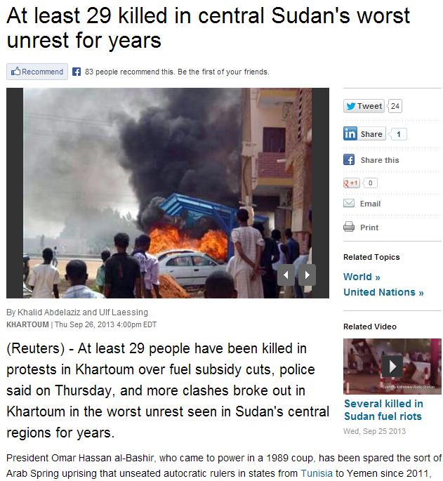 29 dead in sudan in worst fighting in years 27.9.2013