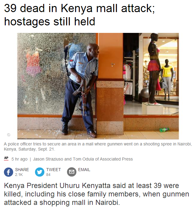 39 dead in Nairobi mall attack 22.9.2013