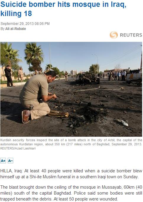 18 die in suicide blast in iraq 30.9.2013