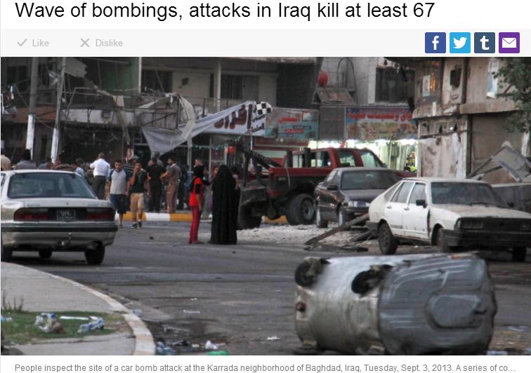 67 dead in iraq car bombings 4.9.2013