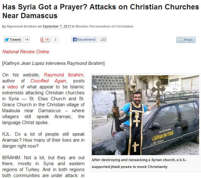 CHRISTIAN CHURCHES ATTACKED NEAR DAMASCUS 8.9.2013