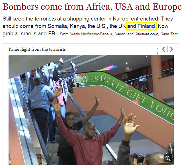 Nairobi bombers come from europe africa us -finland 22.9.2013