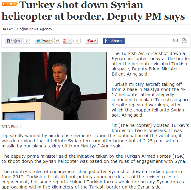 Turkey shoots down syrian helicopter 16.9.2013