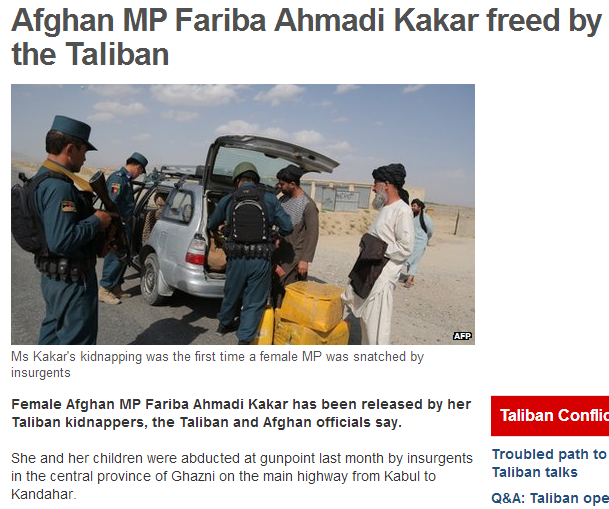 afghan mp freed by taliban 8.9.2013