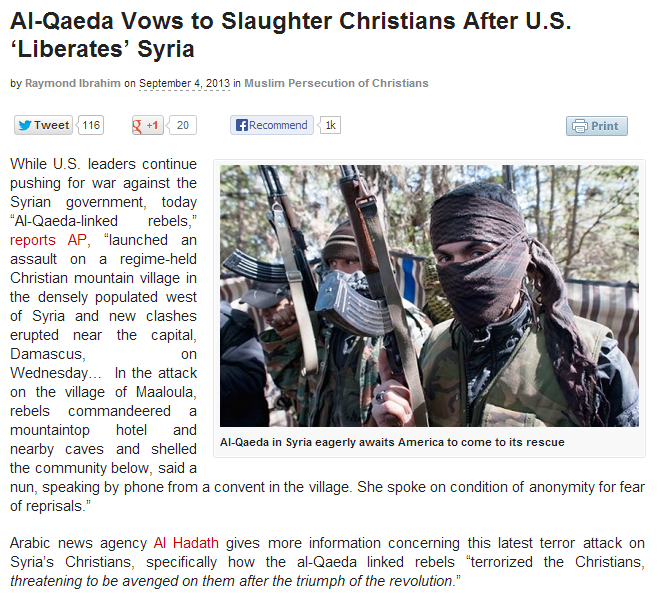 al-qaida promises to slaughter christians after assad Baatist regime is gone 5.9.2013