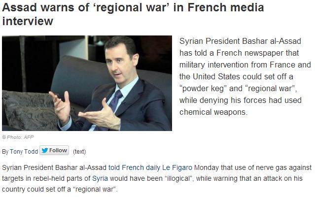 assad warns of regional war if attacked 3..9.2013
