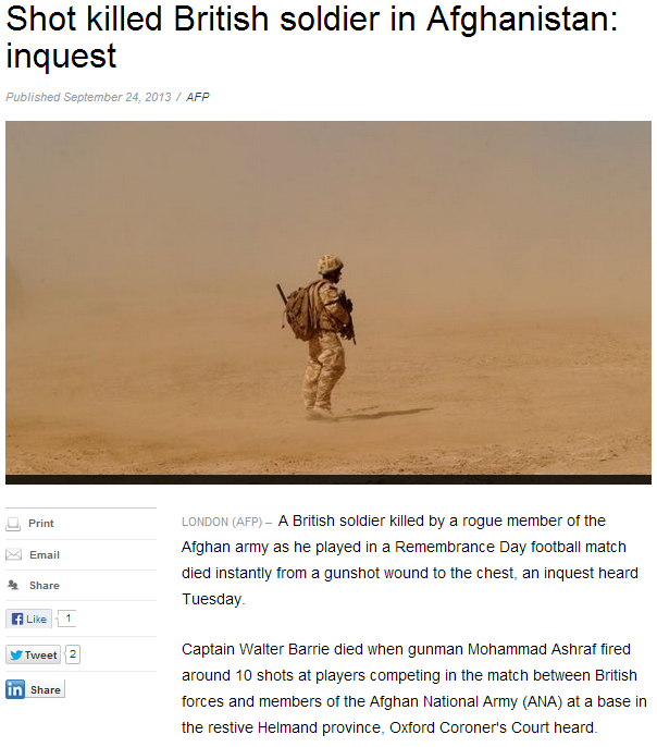 brit soldier killed in afghan by rogue member 27.9.2013