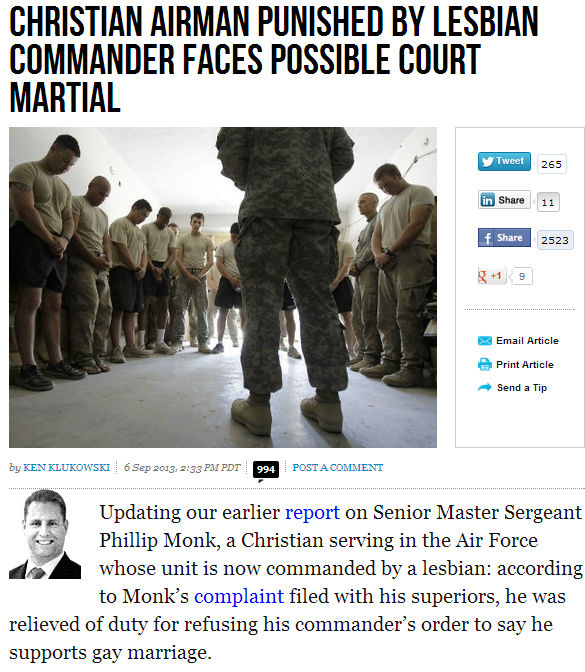 christian airman victimized for refusing to support gay marriage 7.9.2013