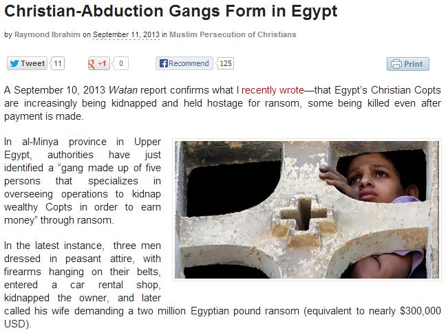 christians being abducted by muslims in egypt 12.9.2013