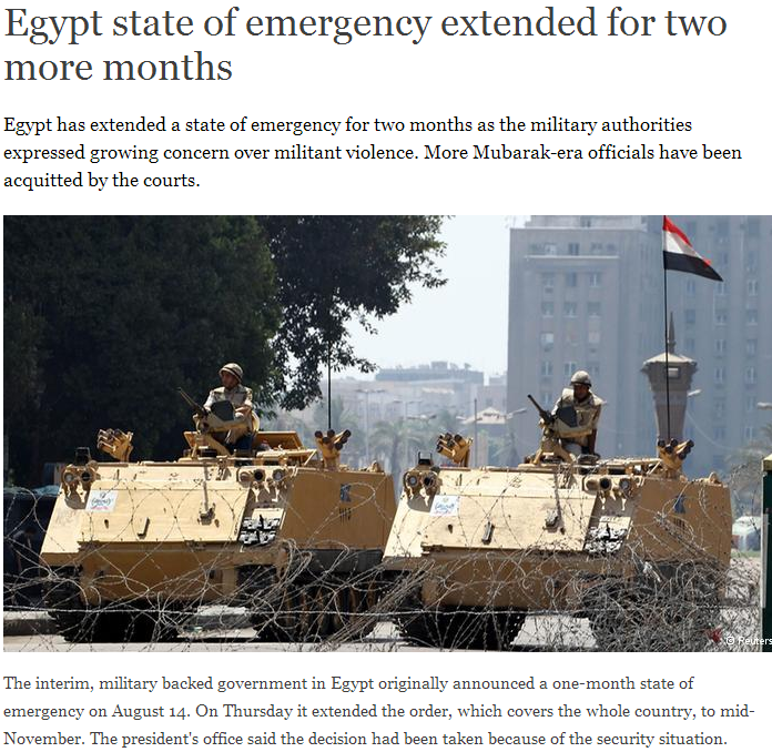 egypt extends emergency rule for two more months 14.9.2013