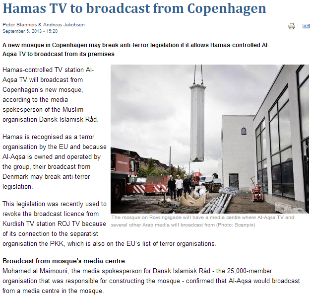 hamas set to broadcast form mosque in denmark 8.9.2013