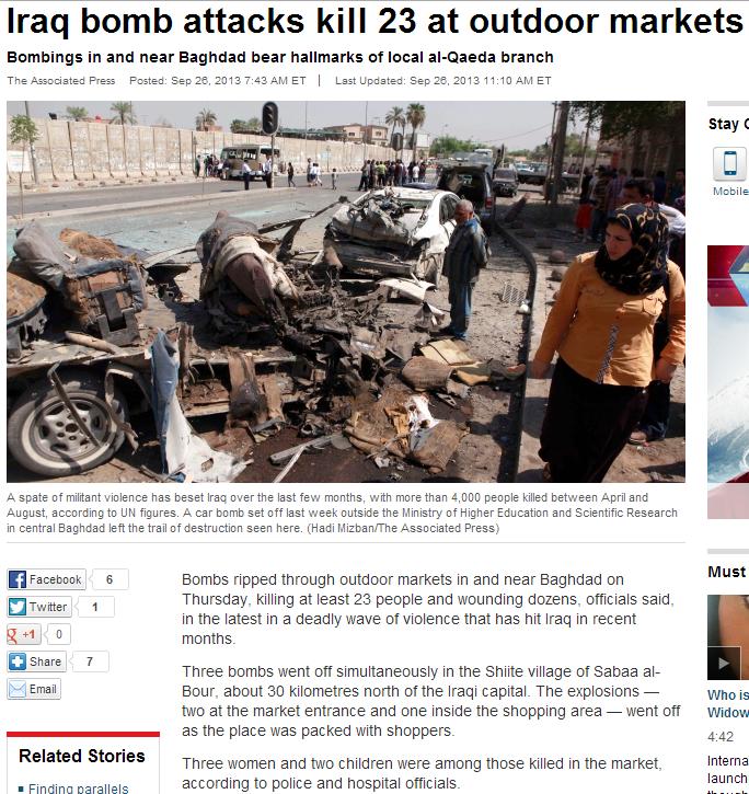 iraq bomb kills 23 27.9.2013