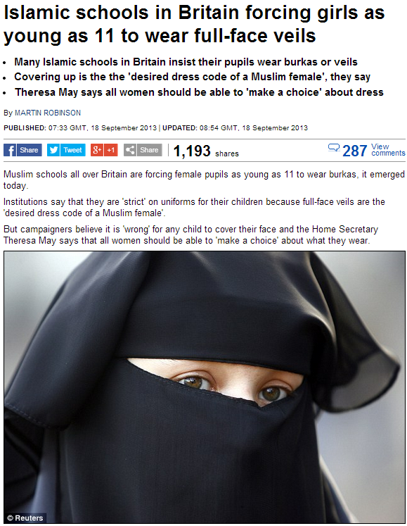 islamic schools forcing face veils on young girls 18.9.2013