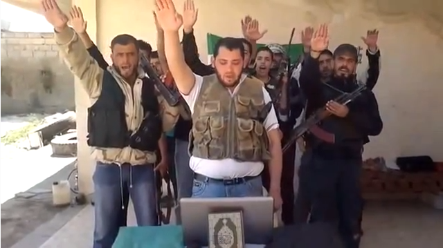 islamonazis in syria with koran and fascist salute 30.9.2013