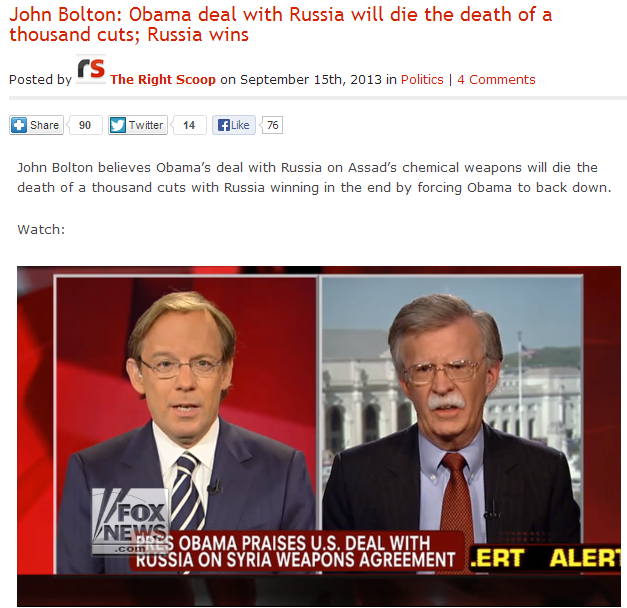john bolton - obama deal with russia over syria will die a death of a thousand cuts 16.9.2013