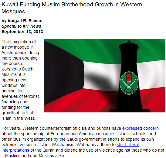 kuwait funding mosques breeding fundamentalist islam in the west 17.9.2013