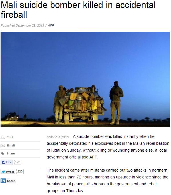 mali suicide bomber in premature detonation 30.9.2013