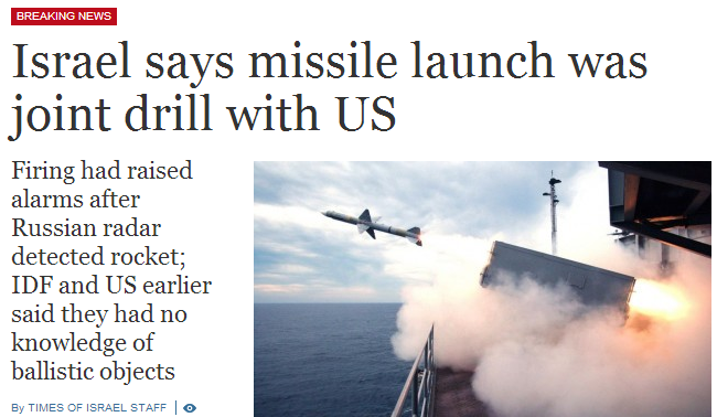 missile launch was training exercise with US - israel navy 3.9.2013