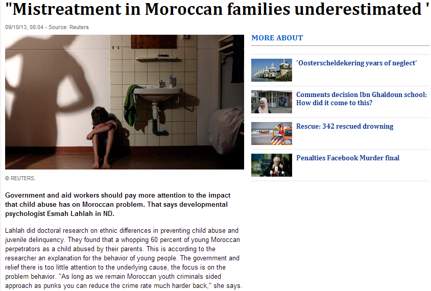 60% moroccan parents mistreating their children in the netherlands 13.9.2013