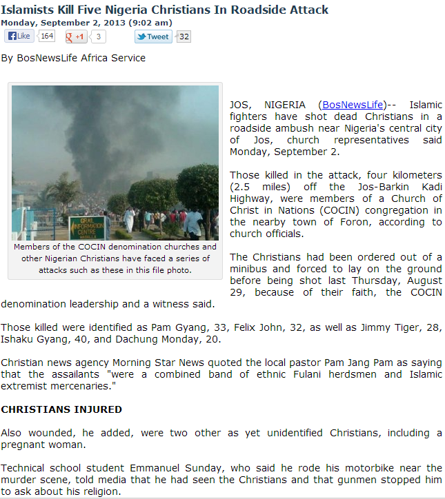 muslim terrorists in nigeria execute christians on bus 3.9.2013