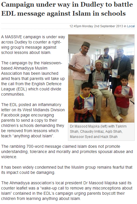 muslims upset by edl campaign to reject islamic teaching in uk schools 3.9.2013