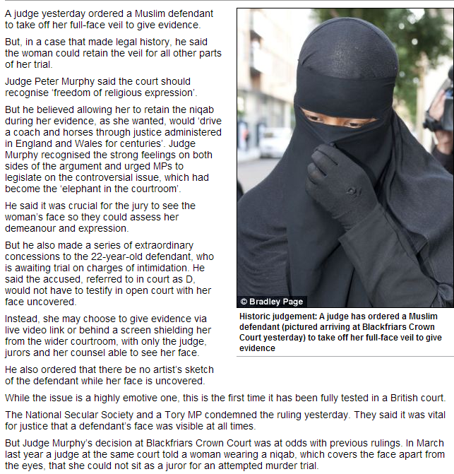 niqab forced off during trial by judge 17.9.2013