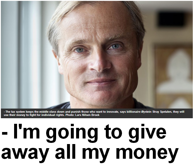norwegian billionaire to give away entire fortune 5.9.2013