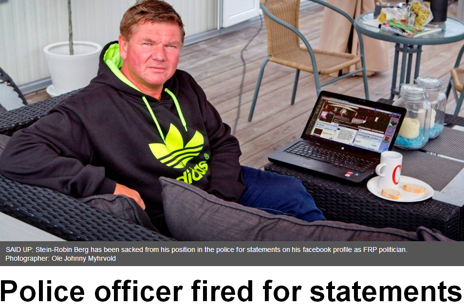 norwegian top cop fired for calling pm a creep on facebook 2.9.2013