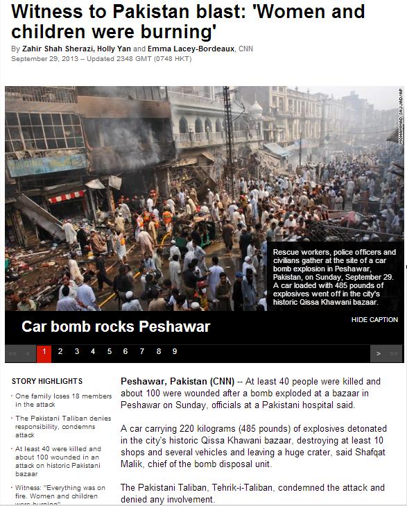 pakistan blast women and children were burning 30.9.2013