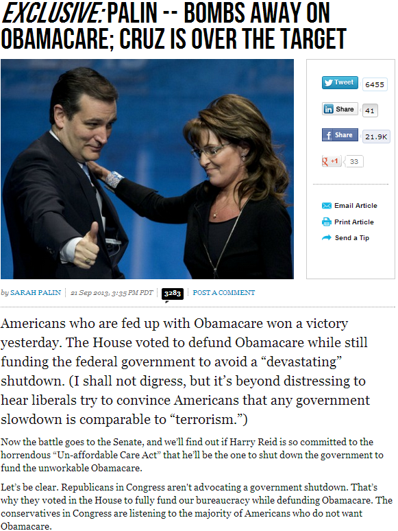 palin says cruz is right on target 22.9.2013