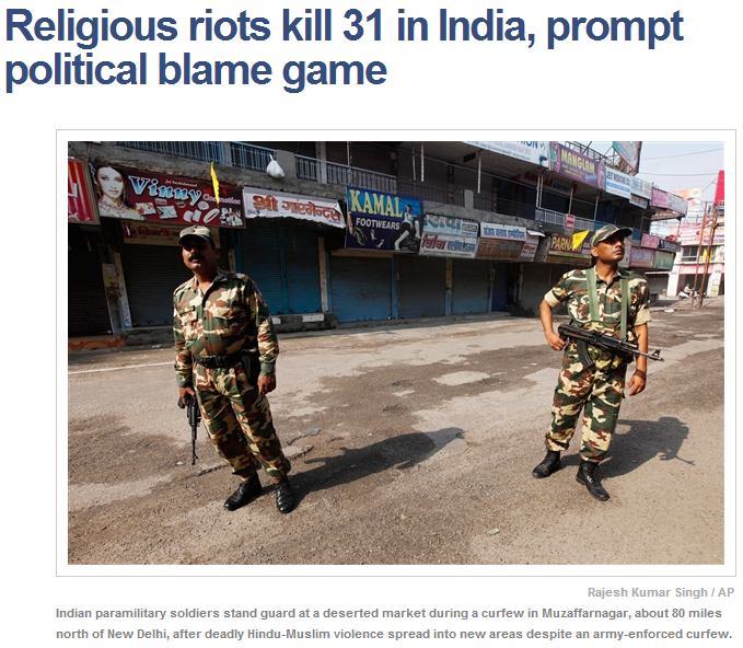 religious riots in india muslim hindu 9.9.2013