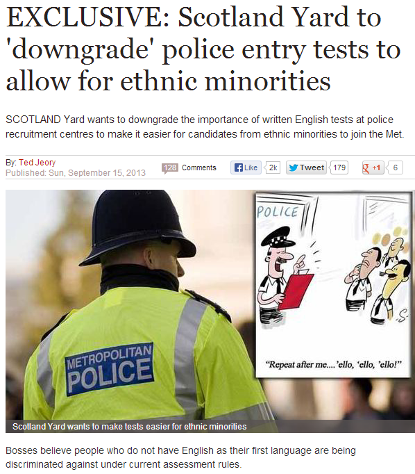 scotland yard bows to pc think, lowers standards to allow ethnic minorities 19.9.2013