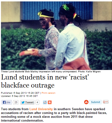 sweden black face brouhaha 7.9.2013