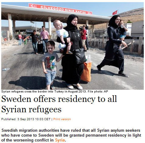 sweden offers permanent residency to all syrian refugees starting today 3.9.2013
